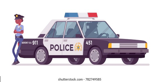 Young policewoman, female member of a police force standing near car, ready for duty on city streets to control traffic. Vector flat style cartoon illustration isolated on white background