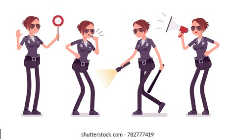 Young policewoman, female member of a police force with light and signals. Directing traffic, police training academy students. Vector flat style cartoon illustration isolated on white background