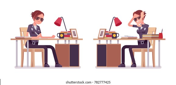 Young policewoman, female member of a police force working at desk, wearing official uniform, tired with routine duty. Vector flat style cartoon illustration isolated on white background