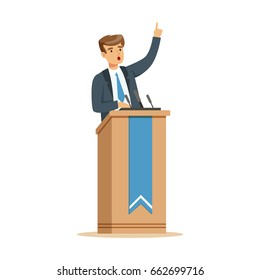 Young politician speaking behind the podium, public speaker character vector Illustration