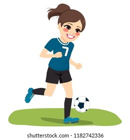Young ponytail brunette happy face expression soccer running playing football with black and blue uniform
