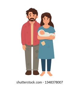 young poor family concept, father, mother and baby in poor condition, hungry and dirty family, refugee concept vector illustration