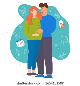 Young pregnant couple Hand drawn woman and man Full length cartoon style Family vector illustration