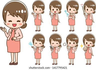 Young pregnant woman illustration set
