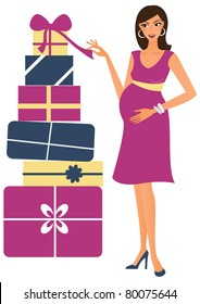 Young pregnant woman looking at loads of gifts for her baby - a perfect picture for any baby shower related projects.