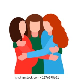 Young pregnant women hug at the meeting. Concept of sisterhood, feminism, female friendship, like-minded people and Baby shower. flat vector illustration isolated on white background