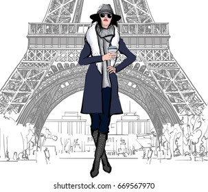 Young pretty fashion model with blue dress in Paris - Vector illustration