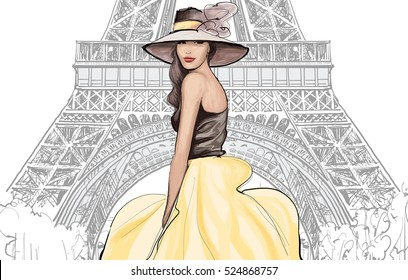Young pretty fashion model with hat in Paris - Vector illustration