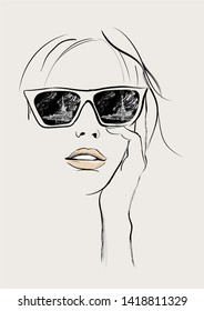 Young pretty fashion model with sunglasses in Paris - Vector illustration