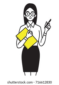 Young pretty female trainee holding notebook with pen, smiling and confident. Business concept in trainee, intern, apprentice. Outline, linear, thin line art, hand draw sketch design, simple style.