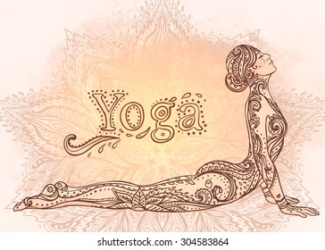 Young pretty girl doing yoga. Vintage decorative vector illustration. Hand drawn background. Mehenidi ornate decorative style. Yoga studio  concept, Indian, Hindu motifs.