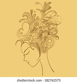 young pretty girl with doodle hairs. Woman's face in profile.