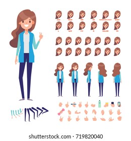 Young pretty girl with long hair for animation. Front, side, back, 3/4 view. Separate parts of body. Constructor with various views, lip sync and gestures. Cartoon style, flat vector illustration.