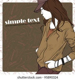 Young pretty girl on a fashion background. Vector illustration. Place for your text.