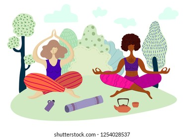 Young pretty girls are meditating in the lotus position and doing yoga in the park, outdoors, European and African American doing sports. Vector illustration