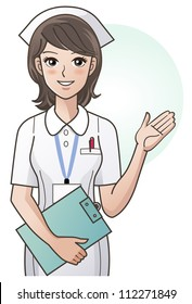 Young pretty nurse providing information, guidance. Cartoon nurse. Hospital. Clipping mask is used in the EPS file.
