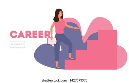 Young pretty office woman in glasses going up on career stairs. Stairway to success. Read more button web-site template head
