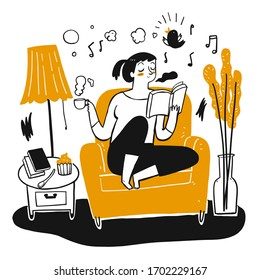 The young pretty sitting and reading on the sofa, Handheld coffee cup. The element hand drawn, Vector Illustration doodle style.