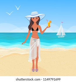 Young pretty tanned girl in bikini and transparent pareo on a sandy beach drinking orange juice. Vector illustration of summer resort vacation