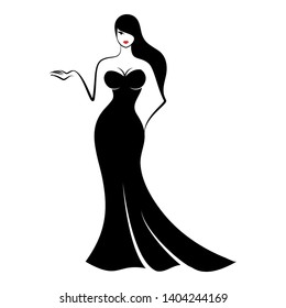 a young pretty woman in an elegant long form-fitting black evening dress