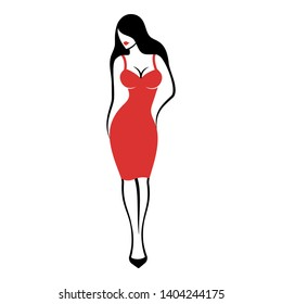 a young pretty woman in an elegant midi form-fitting red cocktail dress