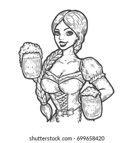 Young pretty woman, girl with beer. Oktoberfest girl with two mugs of beer. Traditional dress of Munich, Germany culture. Hand drawn illustration sketch engraving style vector.