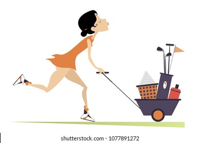 Young pretty woman is going to play golf isolated illustration. Smiling woman pushes a trolley with bag of golf clubs, balls and water in and goes to play golf isolated on white illustration vector