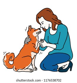 Young pretty woman, kneel down and greeting cute Japanese Shiba Inu dog, expressing friendship, cheerful, happiness, in concept of dog best friend. Outline, linear, thin line art style.