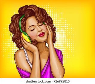 Young pretty woman in vintage headphones listening music with closed eyes pop art vector illustration on dotted background. Curly girl music lover relaxing when enjoying her favorite song. Copyspace