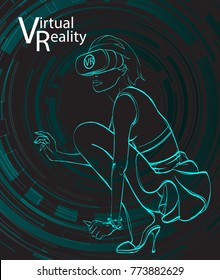 Young pretty woman wearing virtual reality headset or 3d glasses controls imaginary interface on screen projection