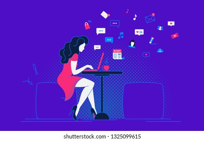 Young pretty woman working with laptop and drinking coffee in student cafe. Flat modern vector illustration of social networking, searching and sending email and texting to friends