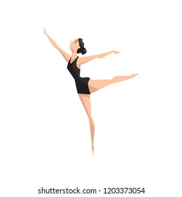 Young professional ballerina dancing, classical ballet dance class vector Illustration on a white background