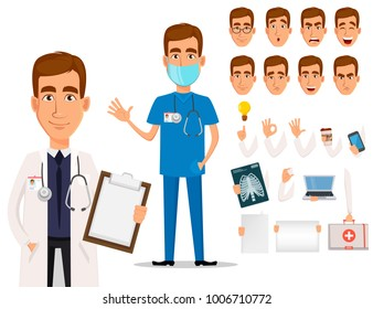 Young professional doctor, pack of body parts and emotions. Medical worker. Hospital staff. Cartoon character creation set on white background. Vector illustration.