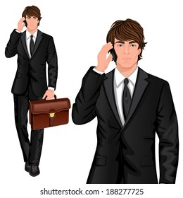 Young professional man dressed in one button suit talking mobile phone and business briefcase vector illustration