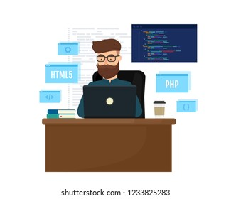 Young programmer coding a new project using laptop. Programming and Engineering concept. Vector illustration isolated on white background.