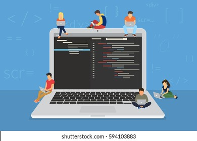 Young programmers coding a new project sitting on big laptop with command line. Flat vector illustration of young programmer coding a new project using programmimg skills and working as system admin