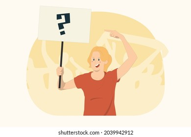 Young protesting woman point index finger on protest sign broadsheet placard concept