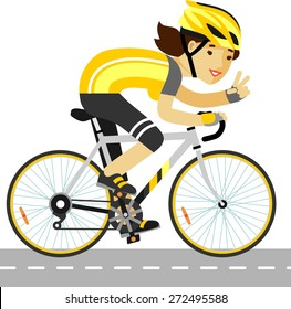 Young racing bicyclist girl with bike isolated on white background in flat style