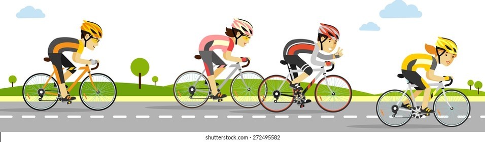 Young racing bicyclists people on bikes on panoramic background in flat style