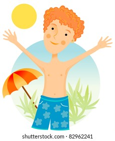 Young red hair kid playing on the beach