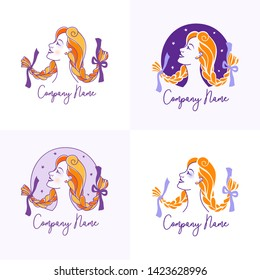 Young red-haired woman with pigtails coiffure in the style of Pippi Longstocking. Logo for beauty salon, hairdresser or hair care products