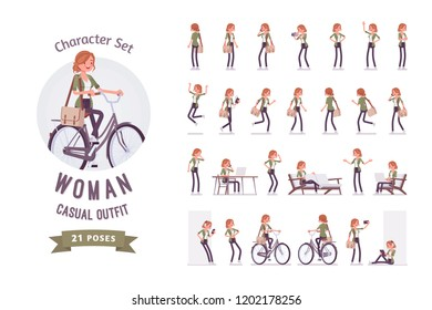Young red-haired woman ready-to-use character set. Caucasian girl with ginger hair, wearing urban haki jacket and accessories, working, resting. Full length, different views, gestures, emotions