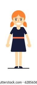 Young redhead girl in blue dress isolated on white background vector illustration. People personage in flat design.