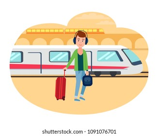 Young refugee guy with baggage at railway station. Male immigrant ready to leave on fast train towards other country isolated vector illustration.