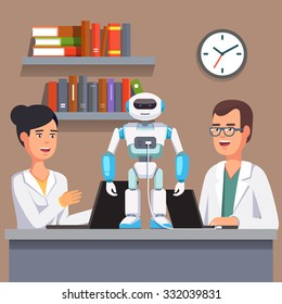 Young researchers man and woman in white smocks programming humanoid bipedal robot at their laptops. Artificial intelligence science. Flat style vector illustration isolated on grey background.