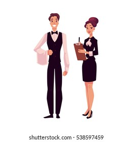 Young restaurant, cafe manager and a waiter, cartoon vector illustration isolated on white background. Full length portrait of restaurant manager, hostess in little black dress and waiter in uniform