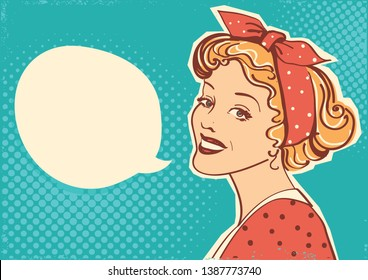 Young retro woman portrait with speach bubble for text.Vector illustration pop art background for design