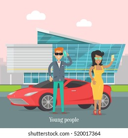 Young rich people standing near the luxury car. Man speaks on telephone in urban city. Happy young lady making selfie. Skyscraper on the background in flat style design. Vector illustration
