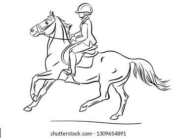 Young rider cantering on a sport pony.