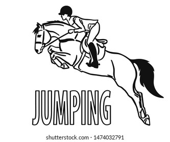 Young rider and a horse are jumping over an obstacle, are in mid-air